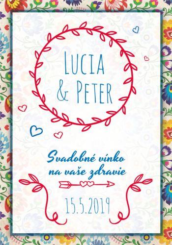 Slovenská tradičná etiketa vzory na víno 045m