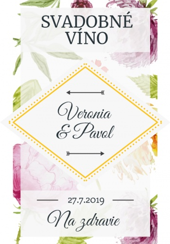 Svadobné samolepky na vino etikety 004M